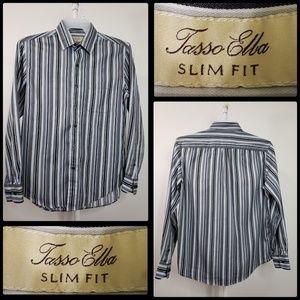 tasso ella slimfit men's stripe button front shirt